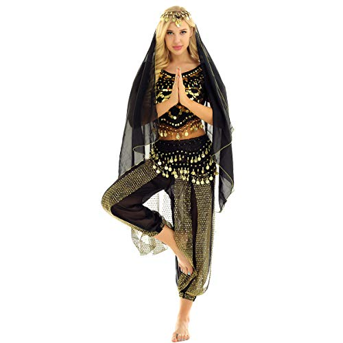 winying Womens India Belly Dance Halloween Carnival Stage Performance Costume Outfit Black One Size ()