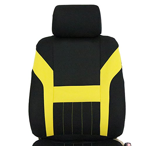 ECCPP Universal Car Seat Cover w/Headrest - 100% Breathable Polyester Stretchy Durable for Most Cars Trucks Vans(Black/Yellow) by ECCPP (Image #5)
