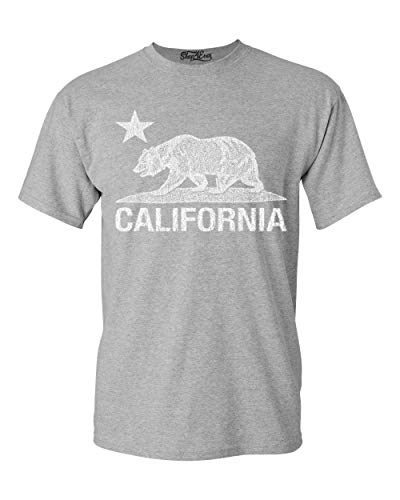 (Shop4Ever California Distressed White Bear T-Shirt Cali Shirts X-Large Sports)