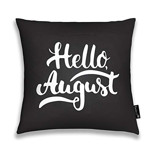 Randell Throw Pillow Covers Hello August The Black Chalkboard Fun Home Decorative Throw Pillowcases Couch Cases 20