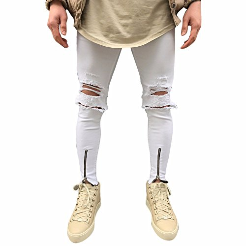 (HYIRI Men's Ripped Slim Fit Motorcycle Vintage Classic Denim Jeans Hiphop Streetwear Pants White)