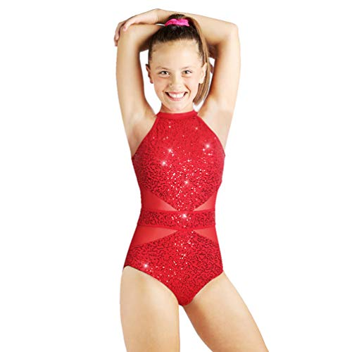 - Beamlet Gymnastics Leotards for Girls Sparkly Dancewear Bling and Shiny(Vibrant Red,9-10 Years)