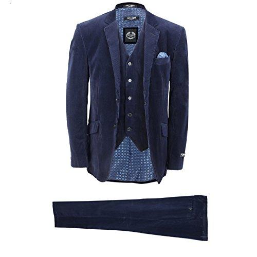 XPOSED Mens 3 Piece Suit Blue Vintage Corduroy Smart Casual Tailored Fit Blazer Waistcoat Trousers [Chest UK 50 EU 60,Trouser 44