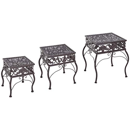 Outsunny 3 Piece Decorative Metal Outdoor Plant Stand Set by Outsunny