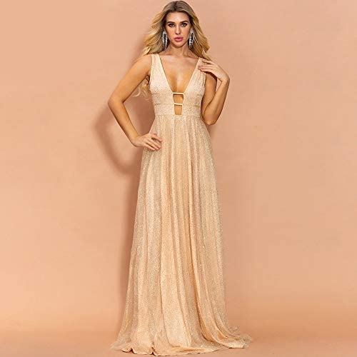 MAEE Sexy und elegant Golden Strapless Glitter Pailletten Sexy Kleider for Frauen Ballkleid Temperament (Size : M)