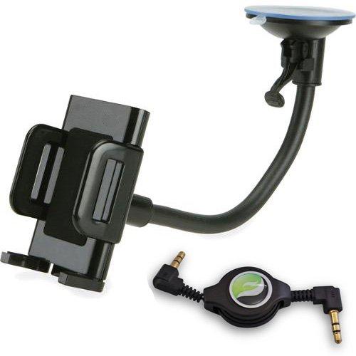 Car Mount Windshield Phone Holder Cradle with Case + Retractable Audio Stereo AUX Cable for Motorola DROID RAZR MAXX HD, Moto G, Atrix HD, Motorola DROID Mini, Droid Ultra, DROID RAZR HD - Speaker Dock For Droid Mini