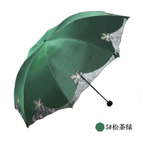 Green Summer Uvioresistant Umbrella Embroiderwomens Parasol Folding Sun Umbrella Lace by Umbrella Compact