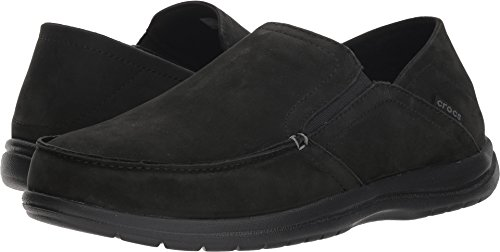 (Crocs Men's Santa Cruz Convertible Leather Slip-On Loafer Flat, black/black, 11)