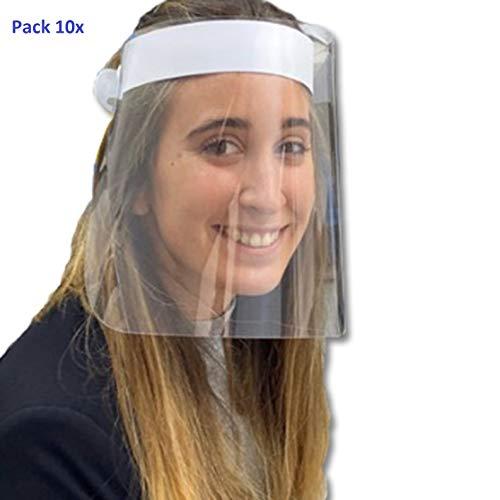 🥇 Pack 10x Pantalla Protección Facial. HOMOLOGADA. Permite Bascular hacia Atras. Fabricado en España. Face Shield.