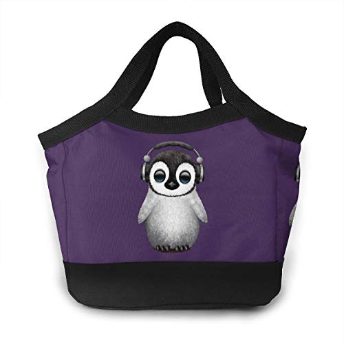Tanyeflw Leakproof Lunch Bags Cute Baby Penguin Dj Wearing Headphone Tote Bag Large for Outdoor Activies -