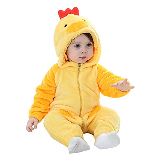 HuaMei Baby Jumpsuit Romper Costume Winter Animal Yellow Chick Onesie Outfits Suit (80's Chick Costume)