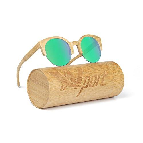 Ynport MensWomens Polarized Kat-eye Bamboo SunglassesWooden Coated Sunglasses Vintage Eyewear Floating Wayfarerfor Men and Women