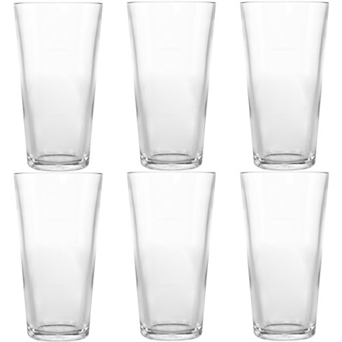 Symglass 6 Pack 16oz Plastic Pint Beer Glasses Thick Unbreakable Tritan Pubware ()