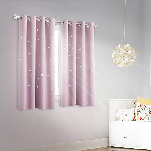 (NICETOWN Star Curtain for Girl's Room - Thermal Insulated Star Stamp Cut Room Darkening Curtain and Drapery (Lavender Pink=Baby Pink, Sold Individually, 52