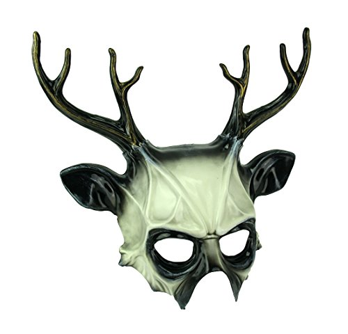 KBW Black and White Wicked Deer Adult Costume Mask ()