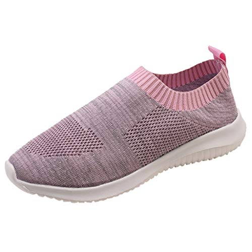 (Women's Fashion Sneakers Breathable Mesh Casual Sport Shoes Comfortable Walking Shoes (Pink -5, US:8.5))