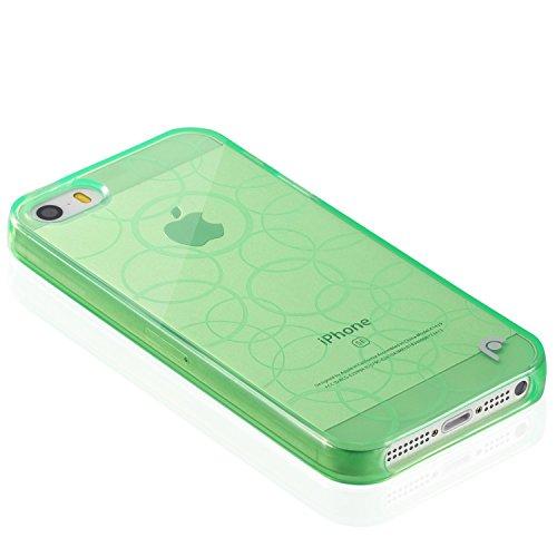 Fosmon DURA TPU Entwurf Case Cover hülle für iPhone 5 / 5s / SE - Multi-Circle - Grün