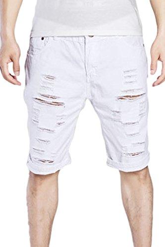 Los Hombres Ripped Jeans Denim Hoyos Cortos Pantalones Slim Fit Cremallera Blanco