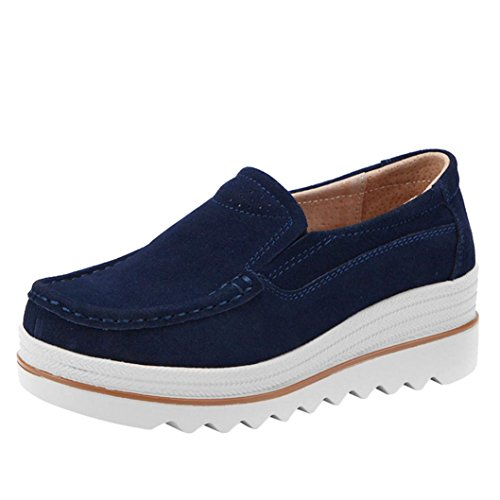 Aurorax-Shoes Clearance Sale Women's Girls Casual Suede Sneakers Creepers Moccasins Thick Bottom Platform Wedges Shoes for Walking Running Hiking (Dark Blue, US:7.5(CN:40))