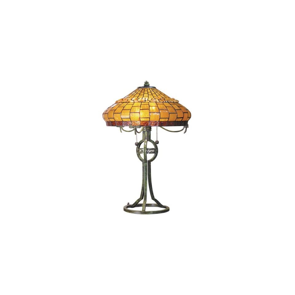 Dale Tiffany TT101012 Grundy Table Lamp, Antique Bronze and Art Glass Shade