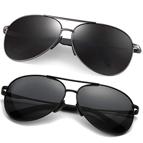 Polarized Aviator Sunglasses for Men - Feirdio Metal Frame Sports UV 400 Protection Mens Women Sunglasses 2261 (black+black gun, ()