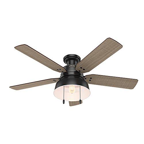 """Hunter Fan Company 59310 Mill Valley 52"""" Ceiling Fan with Light, Large, Matte Black"""