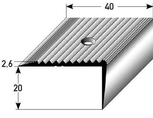 perforado aluminio anodizado 20 mm x 40 mm bronce oscuro Perfil de escalera // Perfil angular