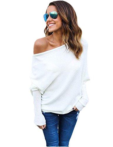 ABD Women's Off Shoulder Bat Wings Loose Pullover Sweater Knit Jumper White