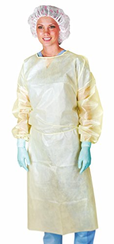 Medline CRI4011 Isolation Gown with Coated Material, Neck and Waist Ties, Elastic Wrists, X-Large, Yellow (Pack of 50) by Medline