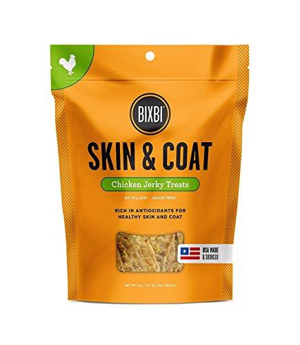 BIXBI Skin & Coat Dog Jerky Treats, Chicken, 5 Ounce