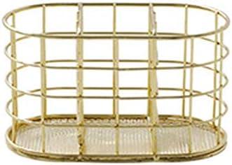 ChengBeautiful Gloss Pen Pot Vergoldete Schmiedeeisen Goldene Haushaltsstifthalter Büro Stifthalter Stifthalterhalter (Color : Gold, Size : 15x8.4x8cm)