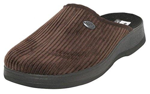 Damen Herren Hausschuhe Cord Pantoffeln Puschen Slipper Schuhe Pantolette Gr.41 braun und grau Braun