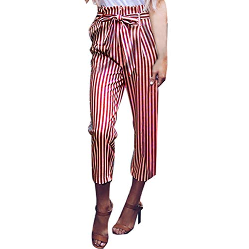 ZEFOTIM Womens Belted High Waist Trousers Ladies Party Casual Pants(F-Wine,X-Large)