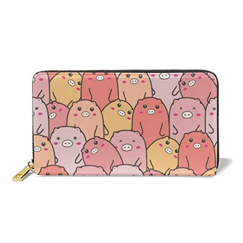 Women Leather Wallet Zipper Around Clutch Purse Waterproof Card Holder Slim Handbag - Cute Piggy -