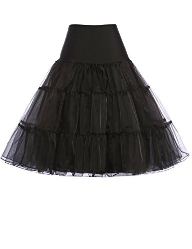 Full Poof Womens Layered Petticoat Underskirt for Dress (2X,Black) -