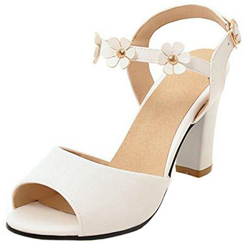 988 Toe TAOFFEN Heel Summer High Elegant Women Flower Sandals Bolck Open Slingback White qwwgORS