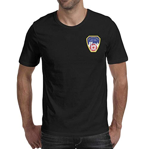 DXQIANG Fire Department City of New York Design Men's Casual Shirts 100% Cotton Tee Tops