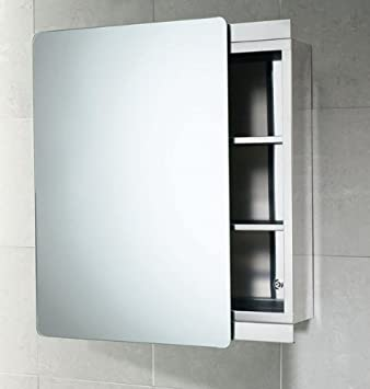 Gedy Space-Saving Stainless Steel Bathroom Cabinet With Sliding Mirror Door - KO07 : stainless steel mirror cabinet bathroom - Cheerinfomania.Com