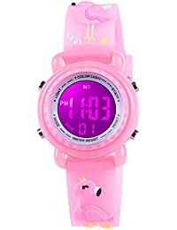 Venhoo Kids Watches 3D Cartoon Waterproof 7 Color Lights Toddler Wrist Digital Watch with Alarm Stopwatch Birthday Gift for 4-10 Year Girls Little Child-Pink Flamingo