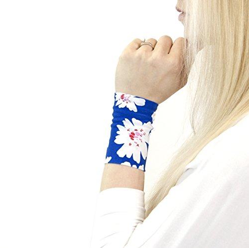 (Stretch Fabric Wrist Cuff Bracelet (Royal Blue Floral Pattern))