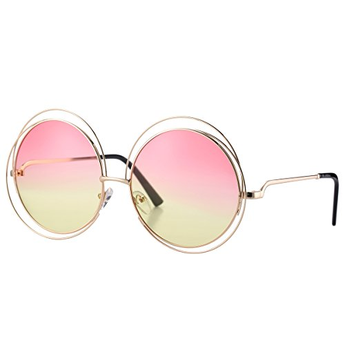 Pro Acme Women's Double Circle Metal Wire Frame Oversized Round Sunglasses (Pink/Yellow - Circle Glasses Frame Wire