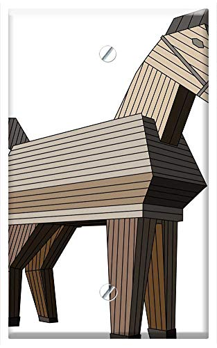 Grille Horse (Single-Gang Blank Wall Plate Cover - The Horse Wood Horse Toy Konik Trojan Horse)