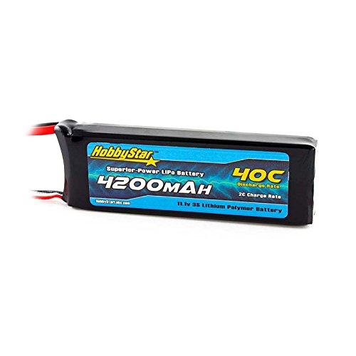 HobbyStar 4200mAh 11.1V, 3S 40C LiPo Battery, Dean's plug