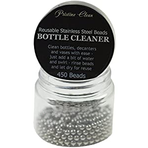 Decanter Cleaning Beads - 450 Reusable Stainless Steel Cleaning Beads for Cleaning Glass Bottles, Decanters, Vases, Carafes (Steel Beads)