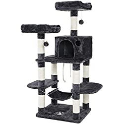 SONGMICS Cat Tree Condo with Scratching Posts Kitty Tower Furniture Pet Play House Bed Grey UPCT85G