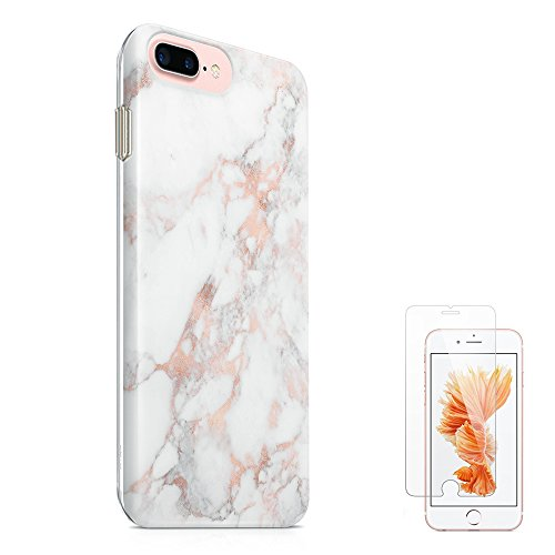 uCOLOR Rose Gold Marble Case for iPhone 8 Plus Case iPhone 7 Plus (5.5