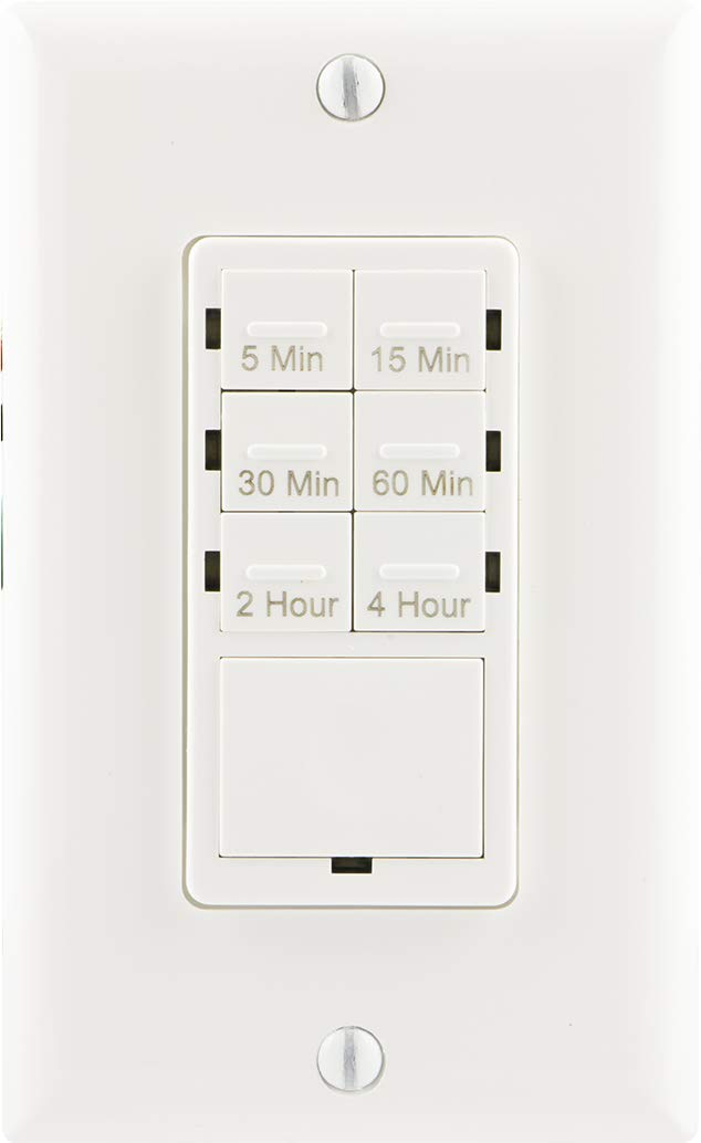 GE Push Button In-Wall Digital Countdown Timer Switch, 5-15-30 Minute and 1-2-4 Hour Presets, On/Off, NO Neutral Wire Required, for Lights, Exhaust Fans, and Heaters, Décor Wall Plate Included, 15318