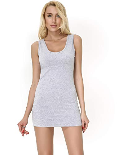 Moxeay Women Scoop Neck Cotton Extra Long Tank Top Vest (XL, Grey) ()