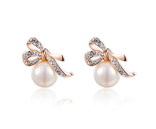 Marvella Green Earrings (Most Beloved Platinum Plated Statement Bowknot Pearls Stud Earrings For Women Party Wedding)