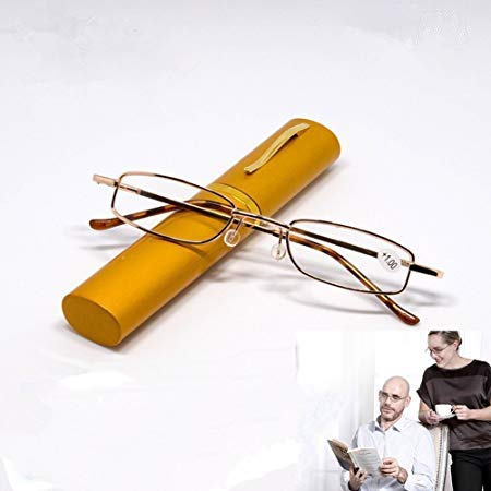 Mens Clear Tubes - Portable Metal Folding Reading Glasses Men Women Readers Unisex Clear Vision Pocket Eyeglass Eyewear with Pen Tube Case - Random Color +1.5